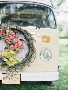 These days the flower child is a rose colored memory, but these Rosey Wedding Reception Ideas will show you just how vintage fab a themed wedding can be! 1970s Wedding, Boho Wedding, Wedding Reception, Dream Wedding, Wedding Day, Reception Ideas, Wedding Photos, Wedding Getaway Car, Wedding Car Decorations