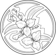 mandala with Trillium flower Mandala Coloring Pages, Coloring Book Pages, Mandala Design, Mandala Art, Flower Outline, Floral Drawing, Parchment Craft, Doodle Designs, Copics