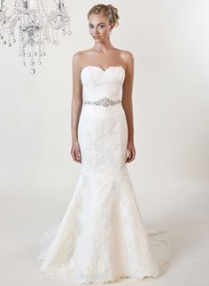 Willow style 3165  This timeless Alencon Lace, fit and flair gown is paired with an elegant beaded belt and perfect sweetheart neckline. Shown in diamond white.