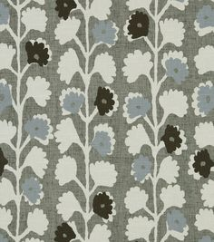 kitchen - fabric covered roller shade with trim. Robert Allen Surreal Vines Indigo