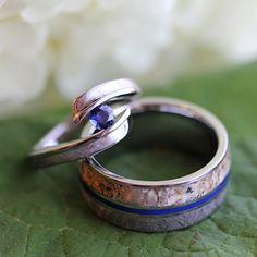 Fresh Unique Bridal Set With Dinosaur Bone and Meteorite Blue Sapphire Engagement Ring Dinosaur Bone and Meteorite Wedding Band