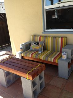 DIY cinderblock bench!