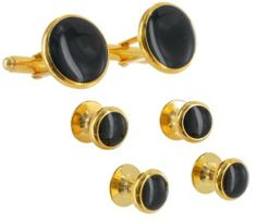 "Mens Tuxedo Set Cufflinks Shirt Studs Circle Black Gold Plated Round Ky & Co. $39.95. Gold Plated Metal. Cufflink and Shirt Stud Set. Cufflinks: 11/16"" Studs: 3/8"". Epoxy Resin. Save 20%!"