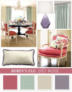 Robin's egg & rose color board inspired by Ashley Whittaker Design's coastal dining room. Also featuring Horchow & Robert Abbey, Inc. | #loomdecor
