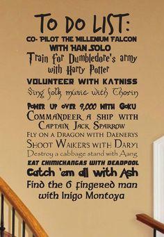 Geek to do list wall decal CUSTOMIZABLE Fantasy geekery storybook magic fairy tales nursery living room decor childrens fandom wizardry - geek culture - Photoshop, Fantasy, Geek Culture, Geek House, Geek Decor, Fandoms, My New Room, Game Room, Wall Decals