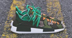 "Pharrell x adidas NMD ""Camo"" Custom by Malcolm Garret Adidas Nmd, Adidas Shoes, Sneakers Nike, Adidas Human Race, Kelly Fashion, Nmd R1, Fresh Kicks, Pharrell Williams, Custom Sneakers"