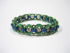 TMNT Themed Stretchy Chainmaille Bracelet (Leonardo) - Helm (Parallel) Chain Weave by Sneath on Etsy