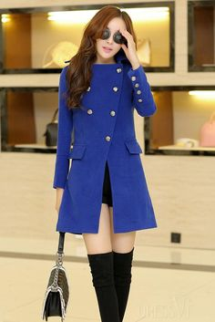 Shop High Quality Blue/Green Korean Style Slim Trench Coat At Dressve.Com, And The Price Is Low Only At US$49.99