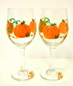 Fall Pumpkin Wine Glasses Handpainted Set by ArtisticdzynsbyLala, $25.00 Decorated Wine Glasses, Hand Painted Wine Glasses, Bottle Painting, Bottle Art, Pumpkin Wine, Halloween Bottles, Wine Glass Crafts, Halloween Painting, Bottles And Jars