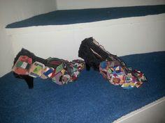 #diy #shoe kumaşları dikip yapıştırdım