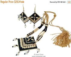 SALE 30% OFF- Necklace Set Jute Natural Handmade necklace With Earrings-Square-from West Bengal in East India-Indian handicraft-Beaded necklace