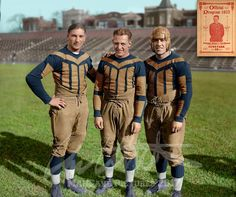 Frank Hanny, Red Grange, Jim McMillen, of the Chicago Bears in Taken at Cubs Park, (now Wrigley Field). Restored and Colorized by Me. Nfl Football Players, Sports Team Logos, Bears Football, Football Gif, Football Uniforms, Sports Uniforms, Football Photos, Nfl Sports, Nfl Bears