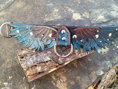 Wing Hand Tooled Leather Dog Collar Teal/ Dark by FinelyTooled