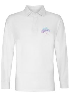 WHEN TWO BECOME ONE MENS WHITE LONG SLEEVE RUGBY SHIRT
