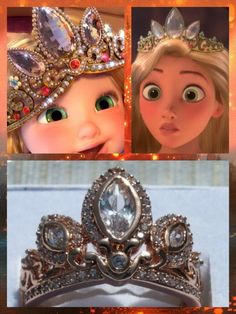 Disney Tangled Rapunzel inspired rose gold tiara/crown Princess Ring; encrusted with crystals.  EBay aosdesigns $30.00