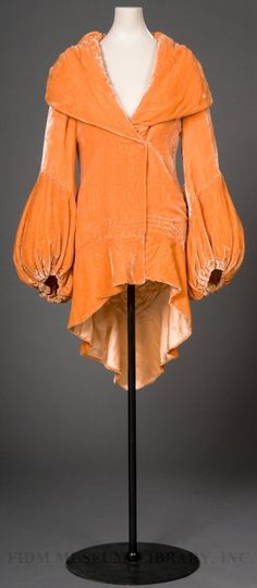 Orange silk panné velvet evening coat, c. 1930-32.