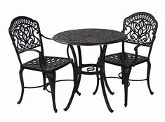 Three Piece Tuscany Bistro Set: Perfect for two, the Tuscany bistro set from Hanamint includes two dining chairs and a round table. This set Fire Pit Furniture, Outdoor Furniture, Fire Pit Gallery, 3 Piece Bistro Set, Outdoor Tables, Outdoor Decor, Tuscany, Furniture Design, Furniture Ideas
