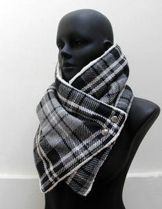 Blanket scarf. Mens cowl scarf. Plaid cotton blendgrey and