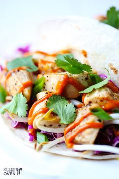 Thai Chicken Tacos -- easy to make, and always a crowd-pleaser! | gimmesomeoven.com