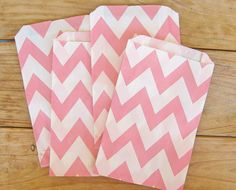 Baby Pink and White CHEVRON Print Kraft Paper PARTY FAVOR Bags - Snack and Treat Bags $3.25 for 12