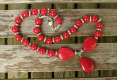 Red Tear Drop Necklace | Large Red Beaded Necklace | Silver Saucer Bead Necklace | Gift For Her Girlfriend Wife Mother by Louisefashionjewelry on Etsy