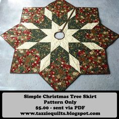 Quilted Christmas Tree Skirt Pattern by TazzieQuilts on Etsy https://www.etsy.com/listing/172576607/quilted-christmas-tree-skirt-pattern