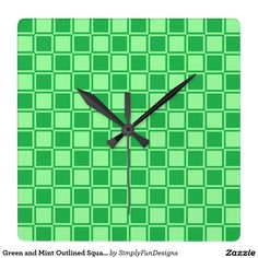 Green and Mint Outlined Squares Square Wall Clock