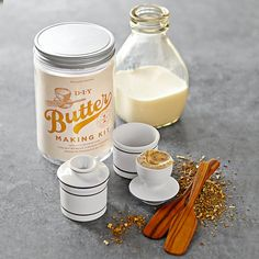 Butter-Making Kit | Williams-Sonoma. Good idea, but don't buy this kit. Just use a mason jar and skip the butter bell. Homemade butter spoils quicker so you don't want to store it in a butter bell. Instead get a cool vintage wood butter mold off of eBay and fancy up your butter.