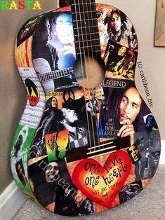 Bob Marley One Love tribute art on a playable Yamaha classical acoustic guitar