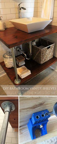 DIY Open Bathroom Vanity Shelves Built with the Kreg Jig K4. @kregtool