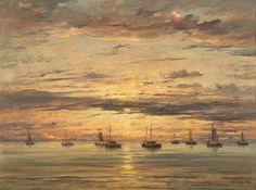 Hendrik Willem Mesdag - Sunset at Scheveningen:  A Fleet of Fishing Vessels at Anchor - 1894 - Painting