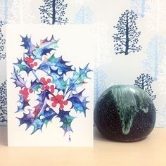 "My ""Cosmic Holly"" card in situ! To browse my card collection go to the link in my bio & U.K. Dwellers enter insta code: instafree for free p&p  #christmascard"