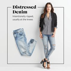 """""""Another trend that's here to stay! If you haven't tried a pair, look for jeans with subtle, clean rips at the knee. Want to go bolder? Try distressing that exposes your entire knee.""""— Stylist Anne R."""