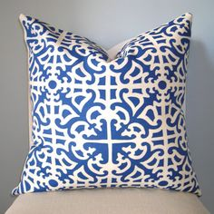 Indigo Blue Lattice Decorative Pillow Cover 20 x 20 by pillowplush, $28.00