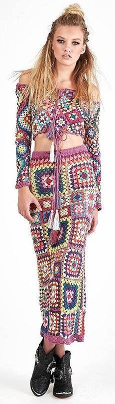 colorful crochet set top & long skirt summer clothing