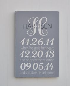 Personalized Wedding Sign, Engagement Gift, Monogram Sign, Wedding Gift, Bridal Shower Gift, Anniversary Gift, Special Date Sign