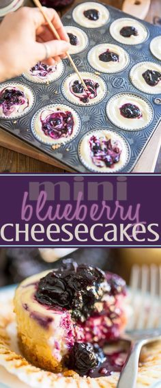 lemon blueberry cheesecake No time to bake an entire cheesecake? These Mini Blueberry Cheesecakes are super easy AND quick to make and are every bit as delicious as the real Mini Desserts, Mini Cheesecake Recipes, Delicious Desserts, Dessert Recipes, Yummy Food, Blueberry Cheesecake Cupcakes, Individual Desserts, Oreo Cheesecake, Strawberry Cheesecake