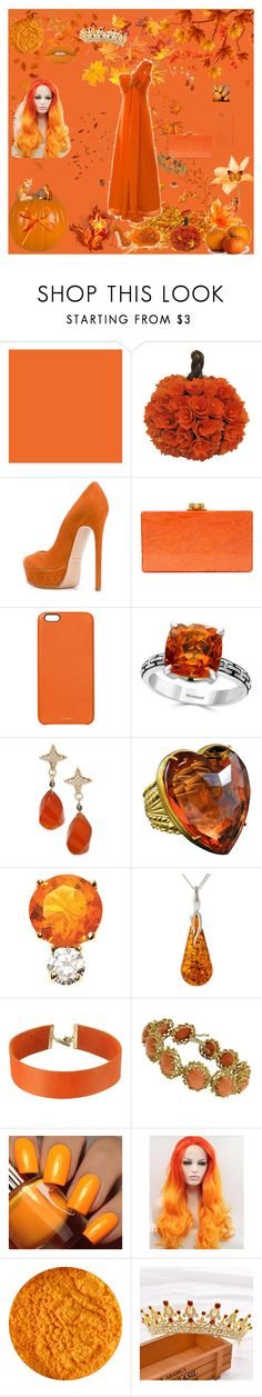 """dark orange queen"" by icyraindancer on Polyvore featuring Lime Crime, Bambah, Casadei, Edie Parker, Chaos, Effy Jewelry, Paul & Pitü Naturally, Patrizia Daliana, Jemma Wynne and Be-Jewelled"