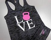 I Love Kettlebells Tank Top. Heart Kettlebells.. Womens Cross Training Tank Top.