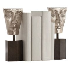 Modern bookends, set of 2 upholstered in gray aluminum and iron with cast aluminum faces finished in polished nickel and mounted to hexagon iron bases Modern Bookends, Unique Home Decor, Modern Decor, Modern Furniture, Luxury Chandelier, Interior Design Business, Modern Artwork, Modern Sculpture