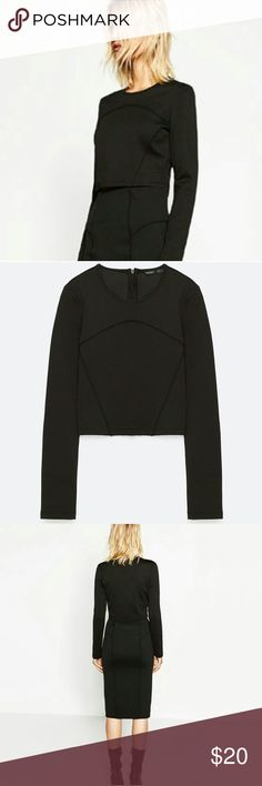 """ZARA Cropped Slim Fit New Top Seam trim  Slim fit style  Long sleeves  Waist-length top (18.5"""") Pleasant, thick & soft fabric  Round neck with short back zip  Brand new with all tags attached  WARNING: this top has a small fit. Please take one size bigger than you wear usually. Zara Tops Crop Tops"""