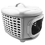 Pet Life™ Circular Shell Perforate Collapsible Pet Carrier in Grey $35.99