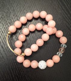 Set of 2 Coral Beaded Bracelets with gold bar and by 2GlamGirlies, $40.00