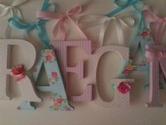 Wooden  letters for nursery spelling out your child's name coordinate with Pottery Barn Kids Savannah bedding  letters. $12.00, via Etsy. @Alyssa Haag