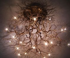 Take an interior decorating cue from Mother Nature herself by illuminating your ., Take an interior decorating cue from Mother Nature herself by illuminating your home with this tree roots ceiling lamp. This work of art features a… Decoration Bedroom, Diy Home Decor, Luminaire Original, Tree Roots, Natural Home Decor, Tree Branches, Tree Tree, Tree Lamp, Lighted Branches