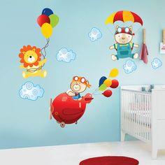 Idéia de adesivo para um quarto de menino. Mudando as cores, pode servir para as meninas também.