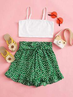 Floral Shorts, Boho Shorts, Pulseras Kandi, Kids Bridesmaid Dress, Tropical Outfit, Kids Outfits, Cute Outfits, Trendy Fashion, Fashion Outfits