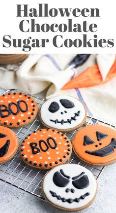 I love decorating these cut out Chocolate Sugar Cookies with with simple sugar icing for Halloween! The cookies are so soft and buttery and it is so much fun to improvise with decoration! Pumpkin Sugar Cookies, Chocolate Sugar Cookies, Soft Sugar Cookies, Fall Cookies, Cut Out Cookies, Royal Icing Cookies, Sugar Cookies Recipe, Summer Cookies, Heart Cookies