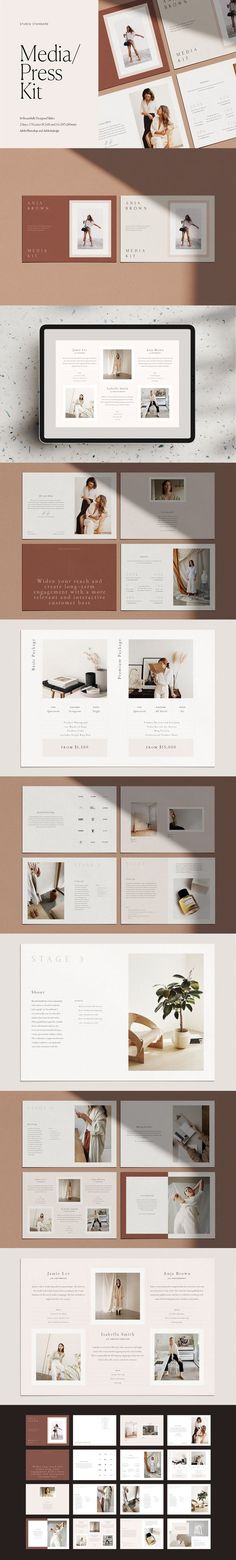 Streamline your enquiry process with this beautiful Media Kit. A Media Kit is also know as a Press Pack, a Services Guide or a Price Guide. Business Proposal Template, Proposal Templates, Corporate Brochure, Business Brochure, Press Kit, Media Kit, Book Design Layout, Presentation Design, Presentation Templates