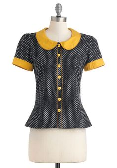 Oh, Peter Pan collar, you're wonderful.  Dots the Way I Like It Top, ModCloth